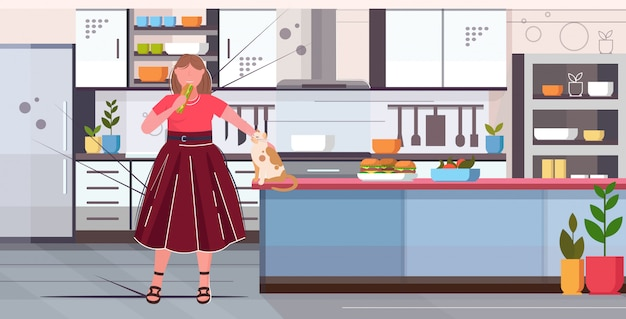 Woman holding sandwich overweight girl eating fast food unhealthy nutrition obesity concept modern kitchen interior flat full length horizontal