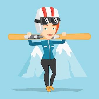 Woman holding skis vector illustration.