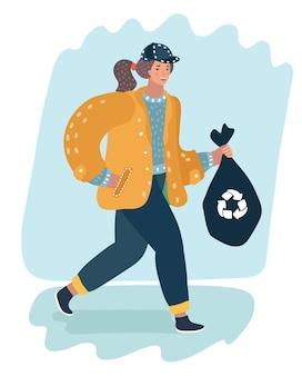 Женщина держит вонючий мешок для мусора и бросает его в мусорную корзину