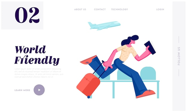 Woman holding ticket running with luggage in airport terminal waiting area hurry on airplane board at summer time vacation trip website landing page, web page. cartoon flat vector illustration