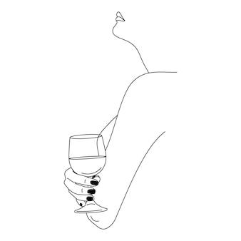 Женщина, держащая рюмку в минимальном модном линейном стиле. векторная иллюстрация моды женской фигуры в профиле. штриховые рисунки для плакатов, татуировок, принтов на футболках, сообщений в социальных сетях