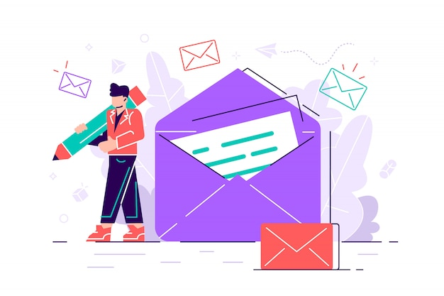 Woman holds mail. chatting. business illustration. working process
