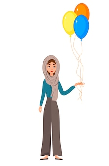 Woman holiday character in a scarf with a balloons on white background.