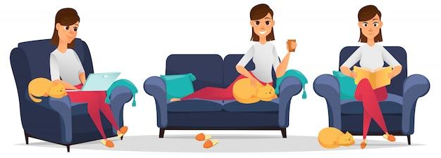 Woman at home set