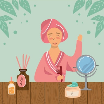 Woman in home spa