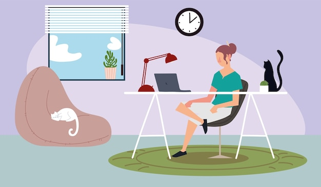 Woman in home with laptop desk workspace illustration