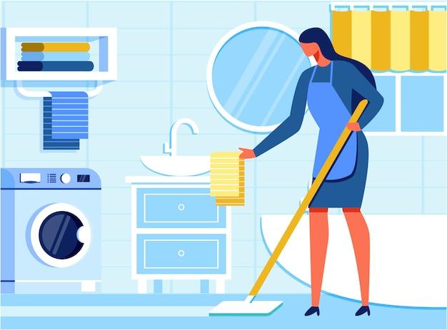 Woman housekeeper cleaning bathroom flat cartoon