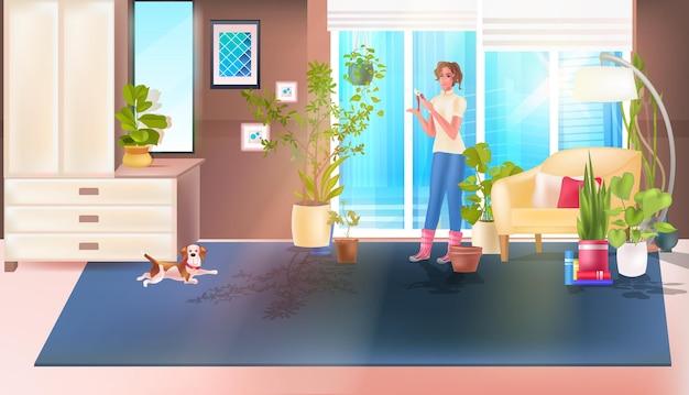 観葉植物を切るプルーナーを使用して女性主婦宿題コンセプトリビングルームインテリア水平全長ベクトルイラスト