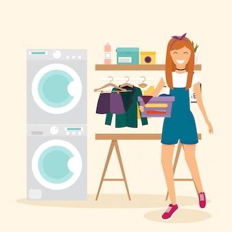 女性主婦が服を洗います。洗濯設備付きのランドリールーム。要素、シンプルなスタイル。図。