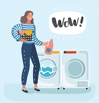 Woman housewife washes clothes in the washing machine