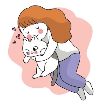 女性抱擁猫手描き漫画かわいい。