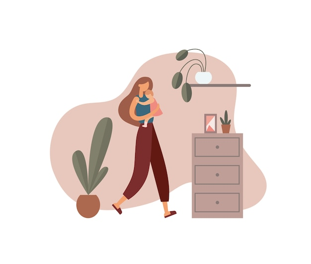 집에서 여자 포옹 아기입니다. 삽화