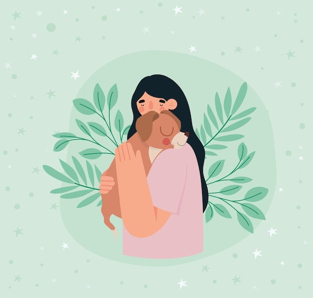 Woman hugging brown dog