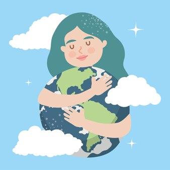 Woman hugging earth planet illustration