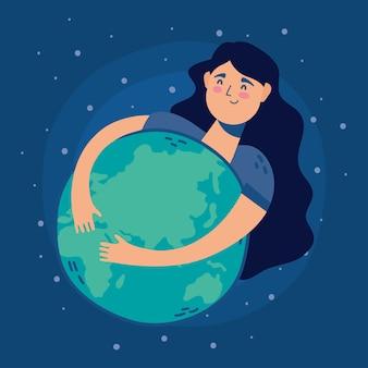 Женщина обнимает мир планеты земля