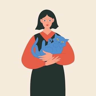 女性は猫を抱きしめるか、漫画のフラットスタイルで友達のイラストを採用します