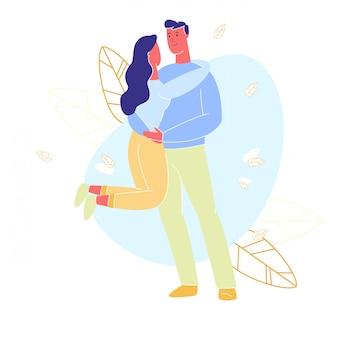 女性は首で男を抱擁します。手に女性を育てます。