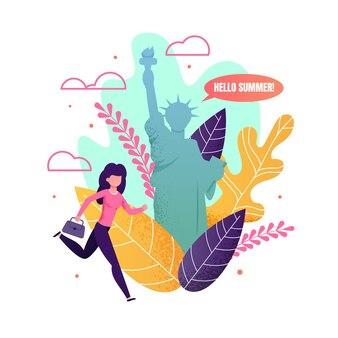 Woman hurrying on summer vacation