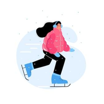 여자 아이스 스케이팅. 소녀는 겨울에 드라이브하러 간다. 겨울 재미.