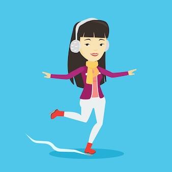 Woman ice skating vector illustration.