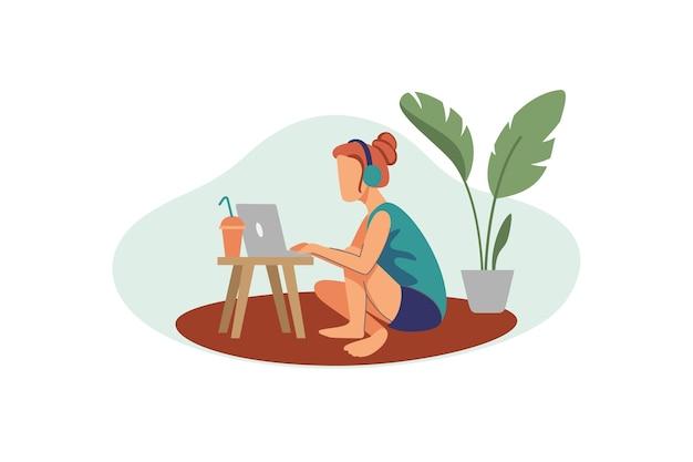 음악을 듣는 동안 집에서 노트북으로 작업하는 여자 그림