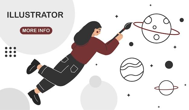 Woman illustrator working in vector graphics editor or design program