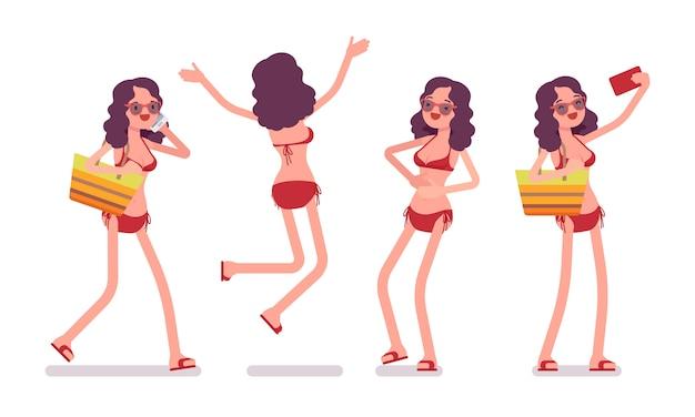 ビキニセットの女性、肯定的で幸せ