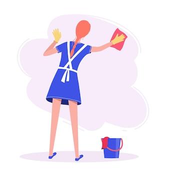 青いドレスを着た女性が壁を洗う