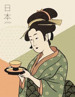 찻잔을 들고 기모노를 입은 여자. 전통적인 일본식. 게이샤 의상.