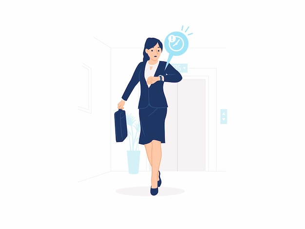 急いで走っている女性は、背景のコンセプトイラストで仕事の会議のオフィスリフトに遅れて時間に間に合うように急いでブリーフケースとフォーマルなスーツを着て忙しいビジネスパーソンを見てチェックしています