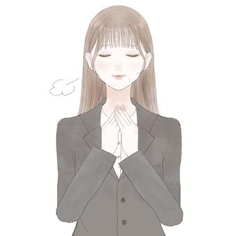 安心したスーツ姿の女性。白い背景に。