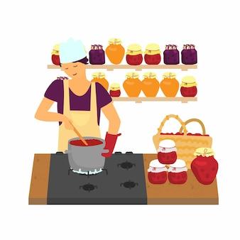 딸기로 잼을 만드는 앞치마를 입은 여성 중소 기업은 지역 개념을 먹습니다.