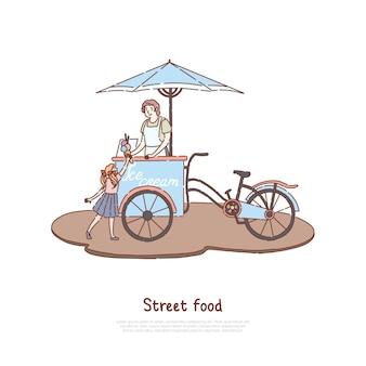 Женщина в фартуке продает сладкий десерт