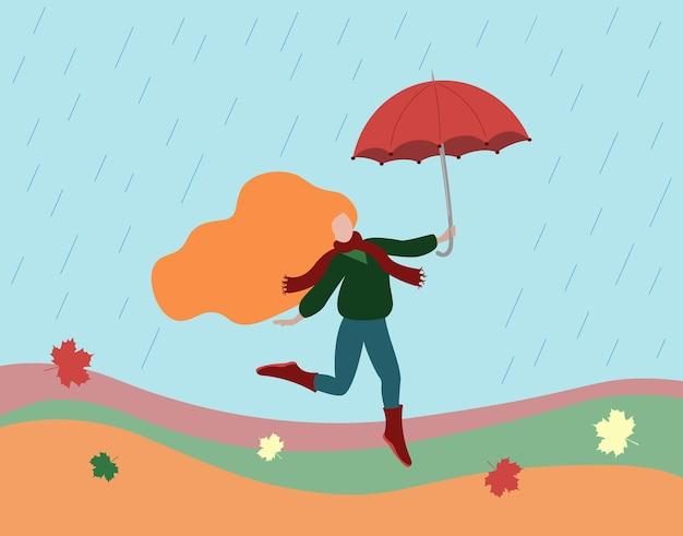 傘と秋の服を着た女性。雨が降っている。
