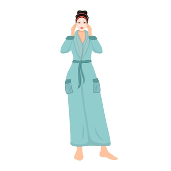 얼굴 시트 마스크 평면 색상 익명의 문자로 목욕 가운에 여자. 웹 그래픽 디자인 및 애니메이션에 대한 소녀 보습 피부 격리 된 만화 그림. 스킨 케어 spa 절차