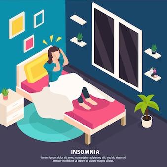 Женщина в постели страдает бессонницей. концепция расстройства сна