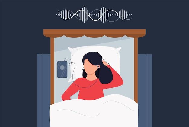 オーディオチャットを聞いているベッドの女性