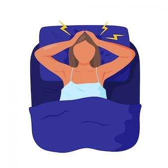 不眠症に苦しんでいるベッドの女性