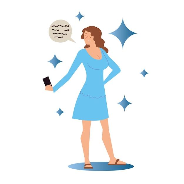 스마트 폰으로 파란 드레스에 여자는 셀카 그림을 걸립니다