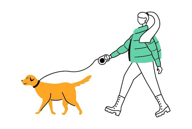 コートフラット輪郭イラストの女性。雨の日。雨天。雨の中で犬を目覚めさせる女性は、白い背景の上の漫画のアウトライン文字を分離しました。ブーツのシンプルな描画でスタイリッシュな女性