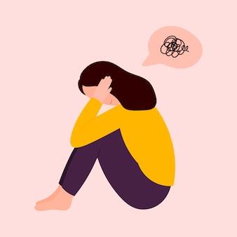우울증에 여자는 바닥에 앉아