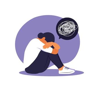Женщина в депрессии с растерянными мыслями в голове. молодая грустная девушка сидит в окне и обнимает ее колени. плоский стиль