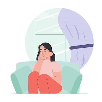 Женщина в депрессии с растерянными мыслями
