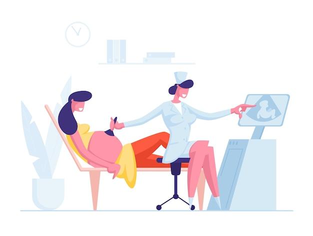 Женщина в кабинете диагностической и скрининговой медицины