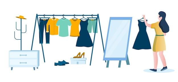 Женщина в раздевалке с вешалкой для одежды, зеркалом, плоской векторной иллюстрацией. женский персонаж держит черное платье. девушка по магазинам для одежды.