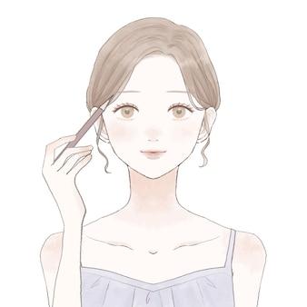 眉毛の女性。白い背景に。