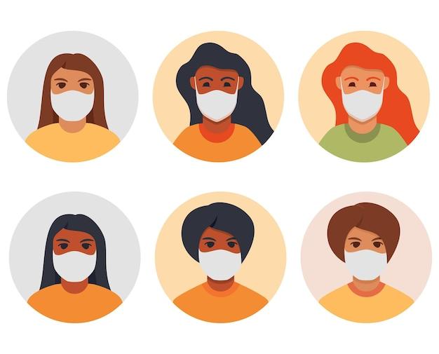 病気を防ぐためのフェイスマスクの女性茶色の赤毛アフリカ系アメリカ人の女の子赤い髪のアバターコロナウイルスからの保護服