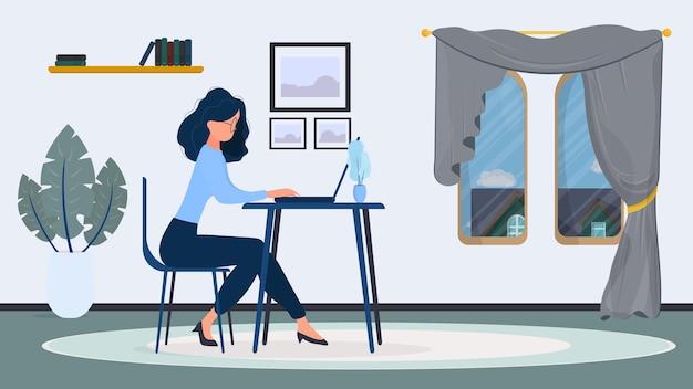 眼鏡の女性は、オフィスのイラストのテーブルに座っています