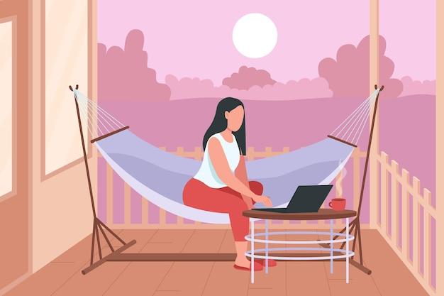 ノートパソコンのフラットカラーイラストとハンモックの女性。家の裏庭でのリラクゼーション。週末ラウンジ