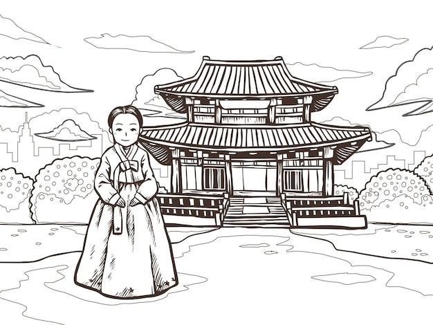 Женщина в ханбоке фотографируется перед кёнбоккуном